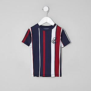 Mini - Marineblauw T-shirt met 'R96'-print en verticale strepen voor jongens