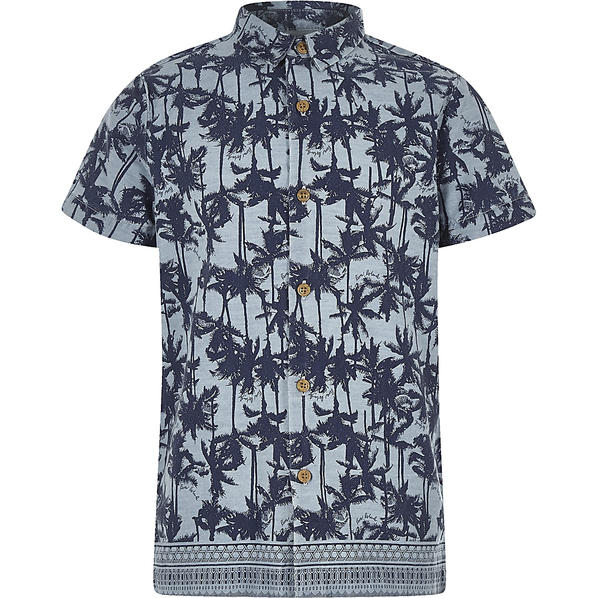 Boys blue palm print shirt