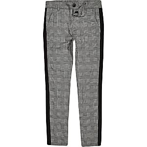 Grijze geruite broek met biezen voor jongens