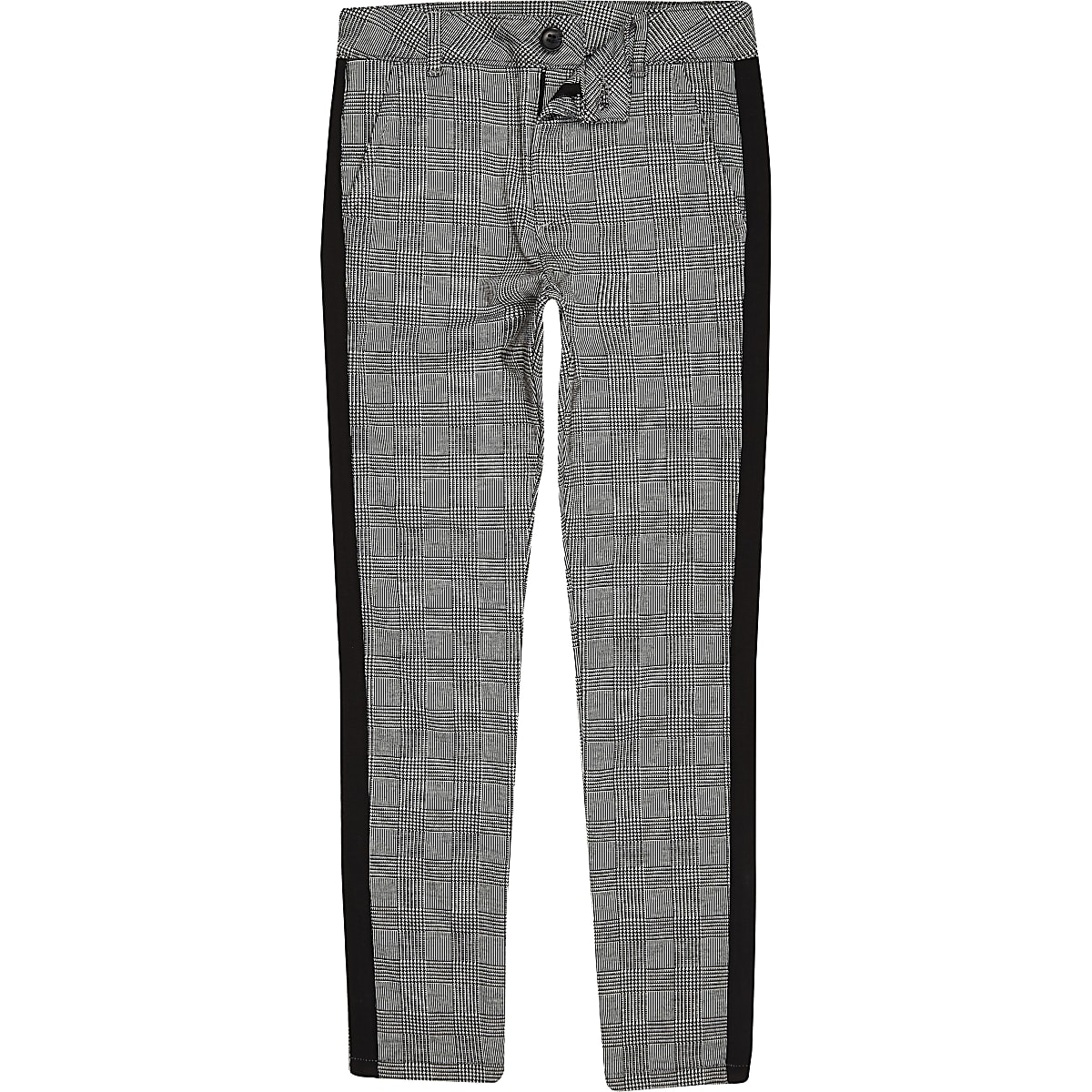 Boys grey check tape trousers