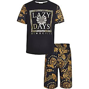 Zwarte pyjama-set met barokke Lazy days-print voor jongens
