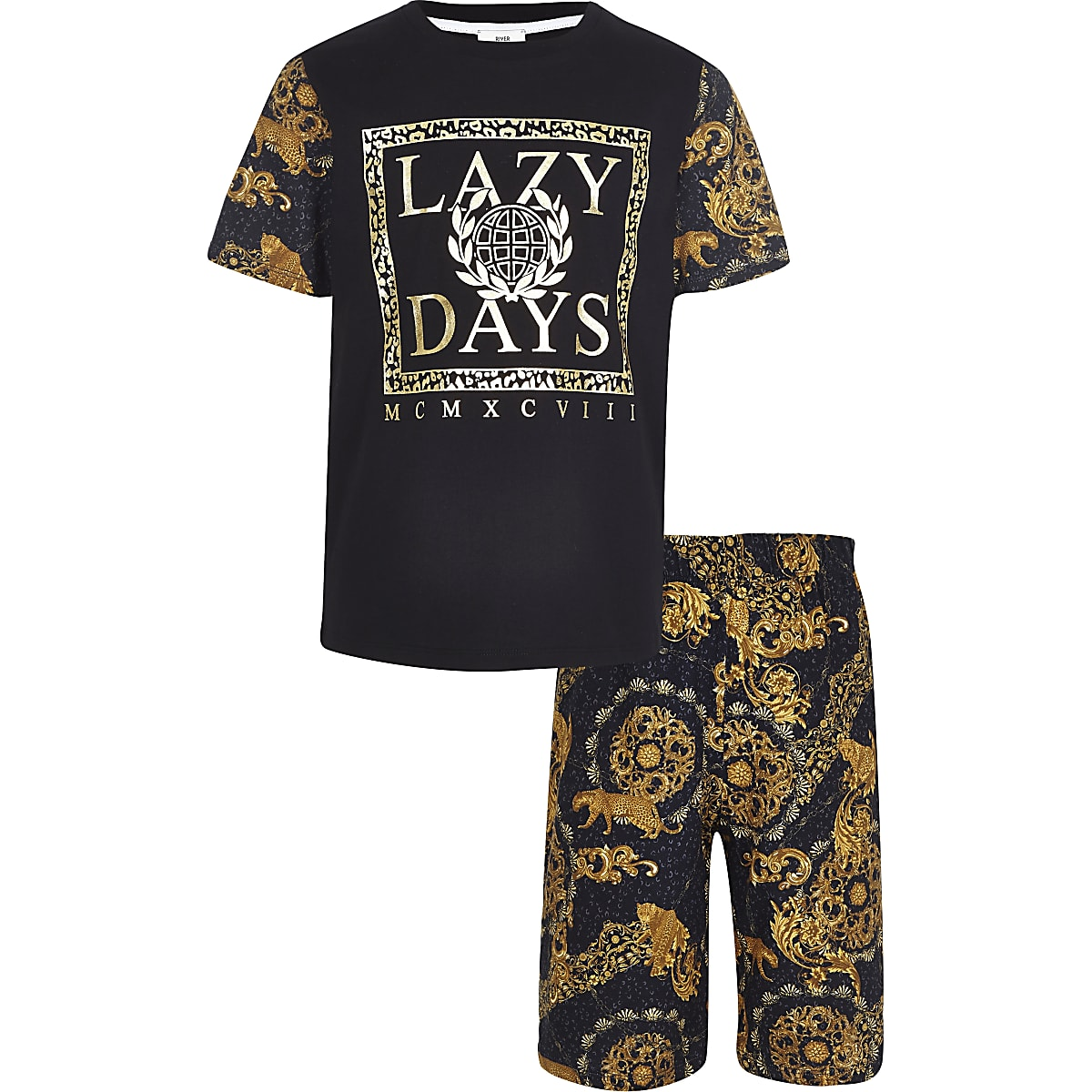 Boys black 'Lazy Days' baroque pyjama set
