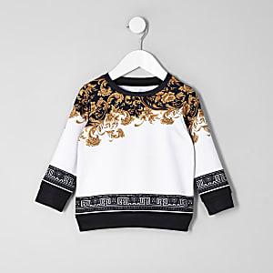 Mini boys white baroque sweatshirt