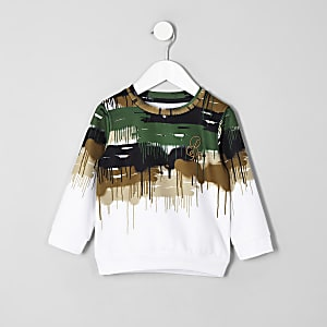 Mini boys white camo drip 'R96' sweatshirt