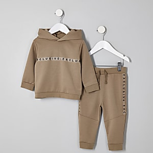 Mini - Outfit met kiezelkleurige hoodie met 'Exclusive'-print voor jongens