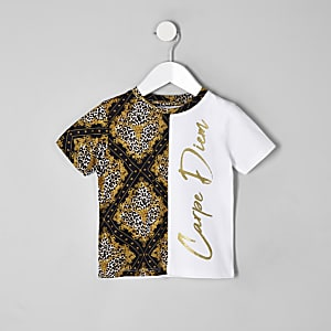 Mini boys white 'carpe diem' spliced T-shirt