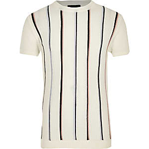 Boys ecru stripe knitted T-shirt