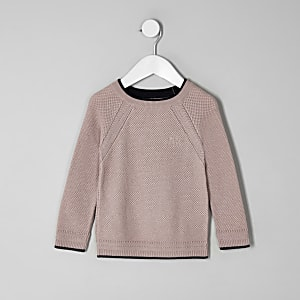 Mini boys pink knit monty jumper