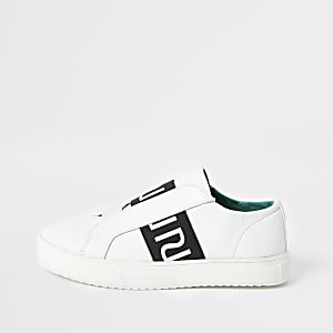 Boys white RI slip on trainers