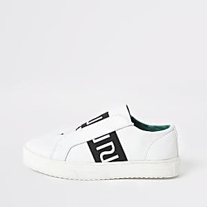 Witte slip-onsneakers met RI-logo voor jongens