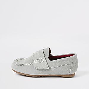Mini boys light blue velcro loafers