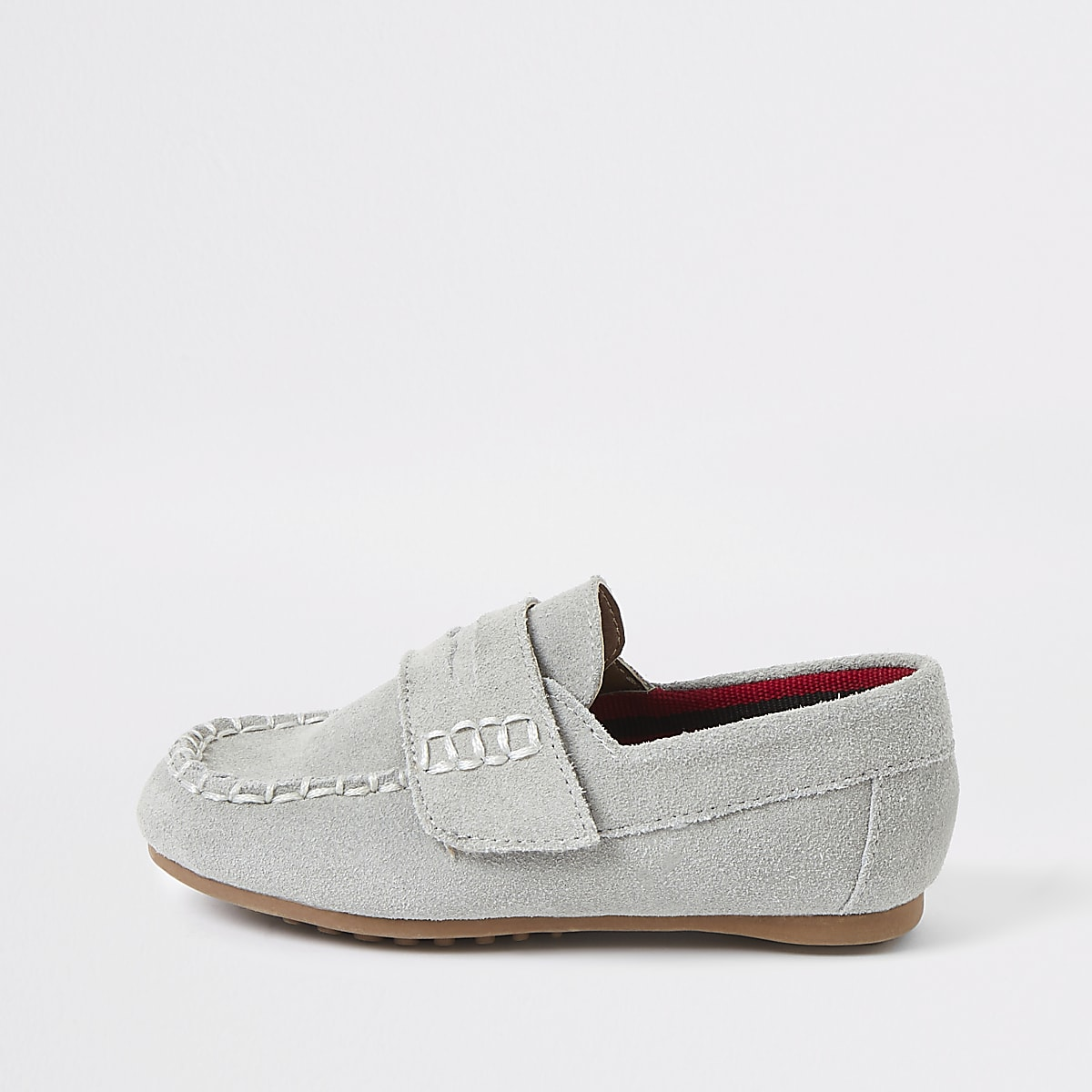 Mini boys light blue velcro loafers