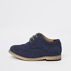 Marineblaue Brogues aus Wildleder