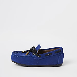 Mini boys blue tie front driver shoes