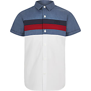 Boys navy colour block poplin shirt