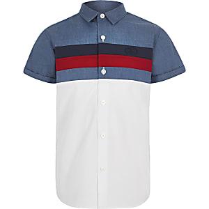 Marineblauw poplin overhemd met kleurvlakken voor jongens