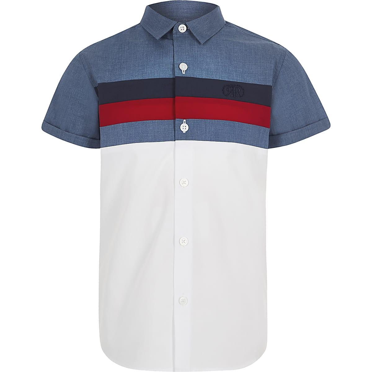Boys navy color block poplin shirt