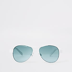 Boys white aviator blue lens sunglasses