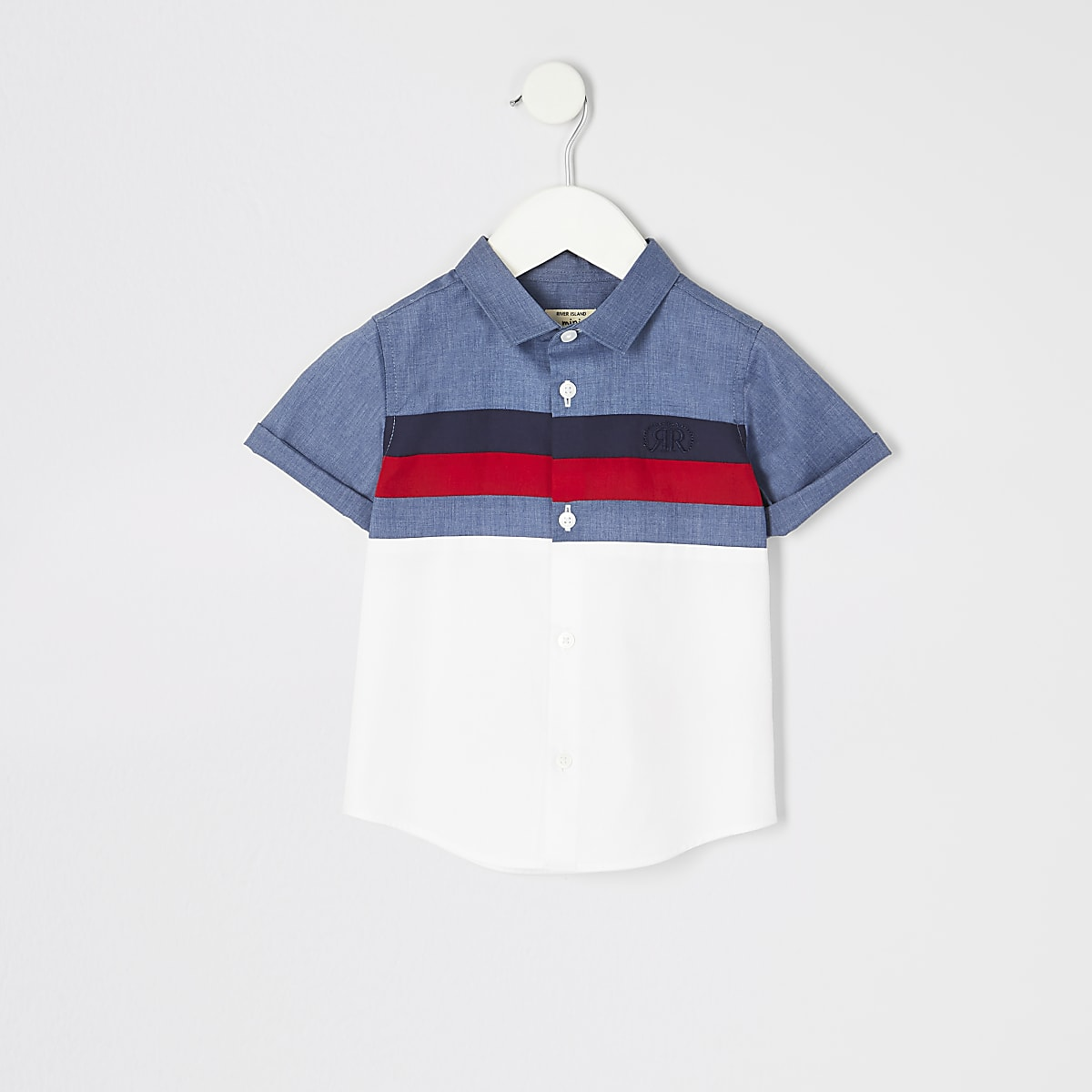 Mini boys navy block shirt