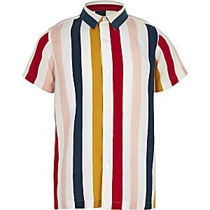 Boys white stripe short sleeve shirt