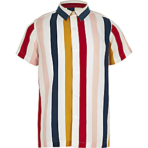 Chemise rayée blanche à manches courtes pour garçon