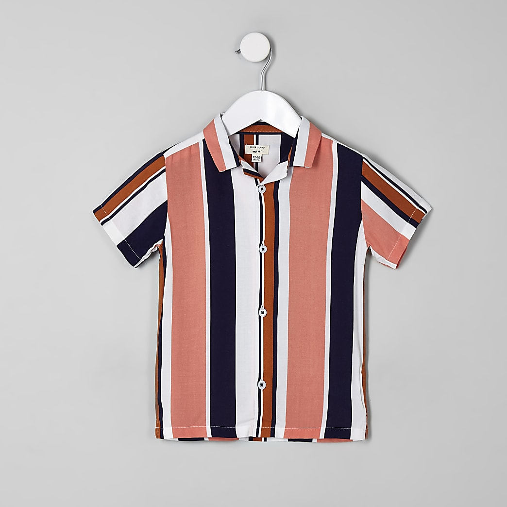 Mini boys navy stripe short sleeve shirt