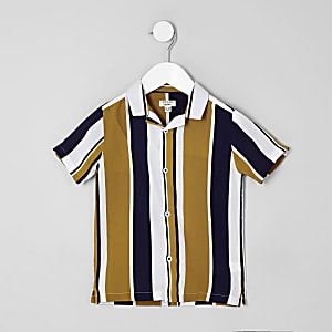 Mini - Geel gestreept overhemd met korte mouwen voor jongens