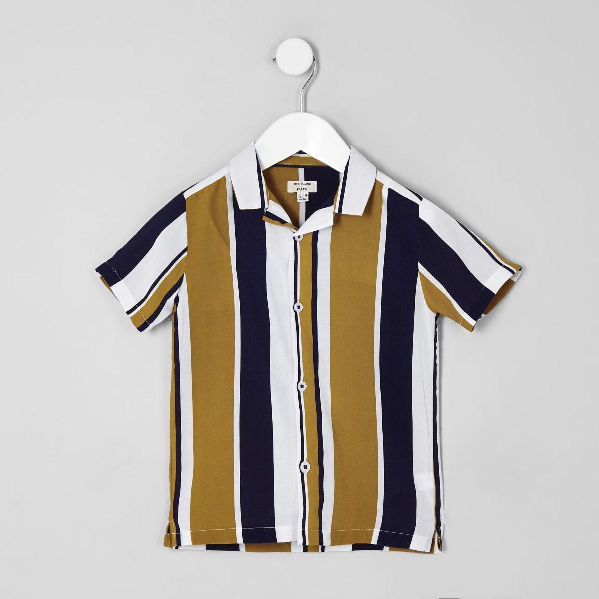 Mini boys yellow stripe short sleeve shirt