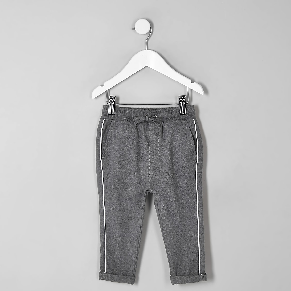 Mini boys grey piped pants