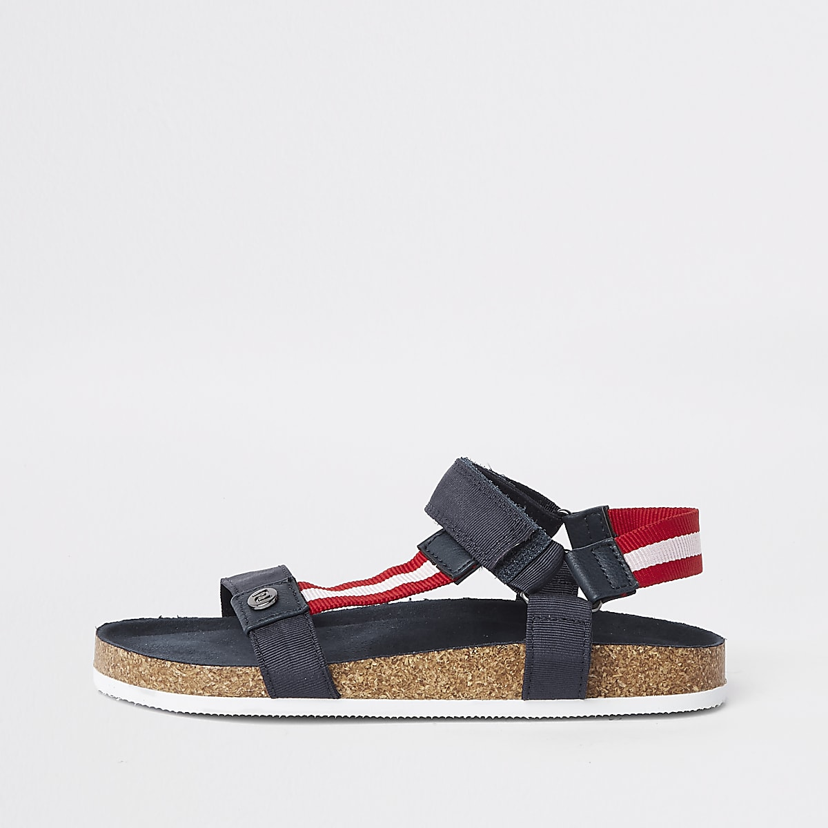 Marineblauwe gestreepte sandalen met kurk voor jongens