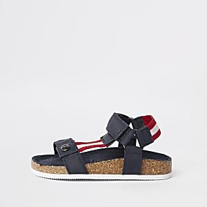 Mini - Marineblauwe gestreepte sandalen met kurk voor jongens
