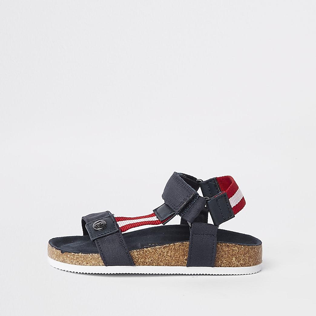 Mini boys navy stripe cork sandals