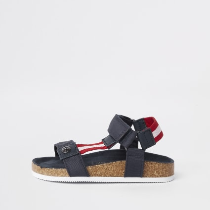 Mini boys navy stripe cork sandals