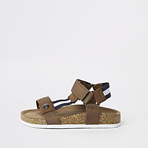 Sandales rayées marron en liège mini garçon