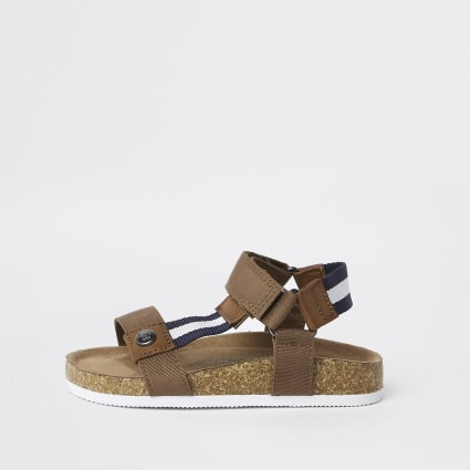 Mini boys brown stripe cork sandals