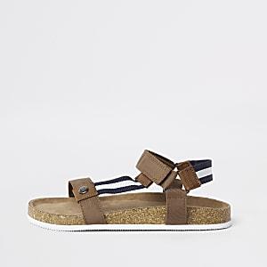 Sandales rayées marron avec semelle en liège pour garçon