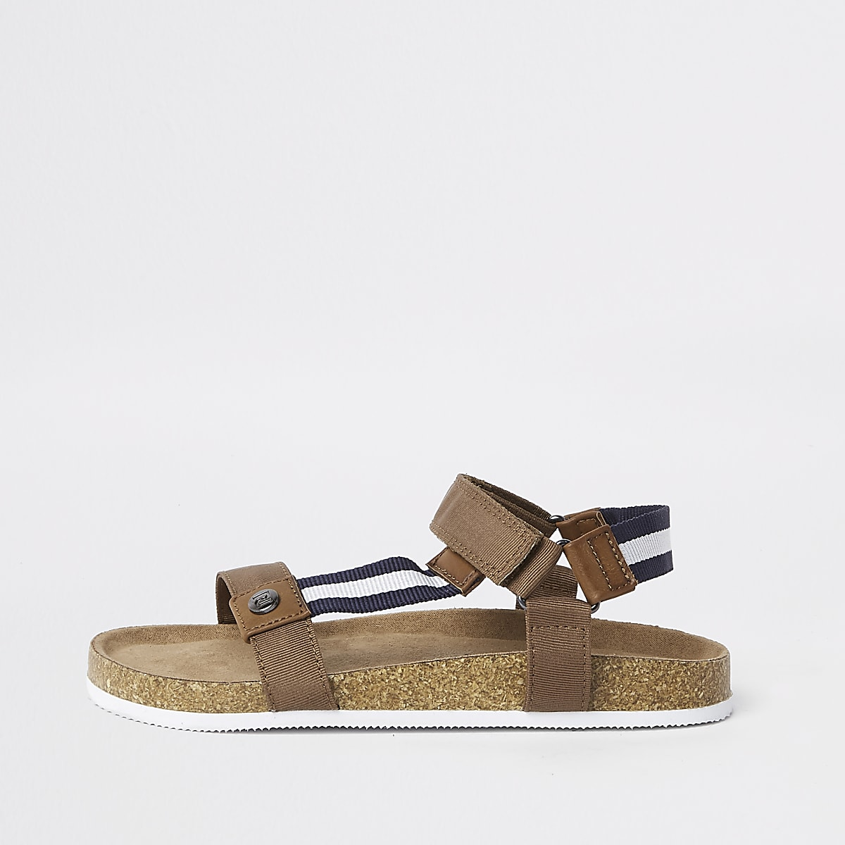 Boys brown stripe cork bed sandals