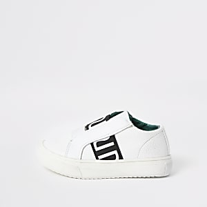 Mini boys white RI elastic trainers