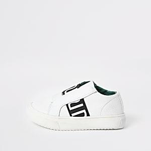 Mini - Witte elastische sneakers met RI-logo voor jongens