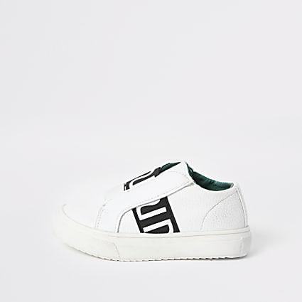 Mini boys white RI elastic trainers