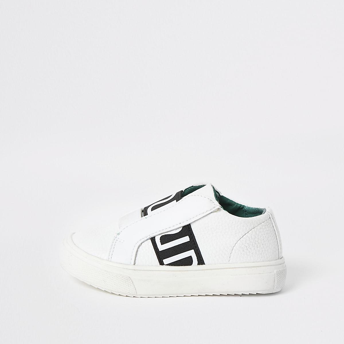 Mini boys white RI elastic sneakers