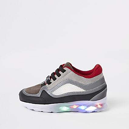 Mini boys grey light up runner trainers