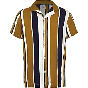 Boys yellow stripe short sleeve revere shirt