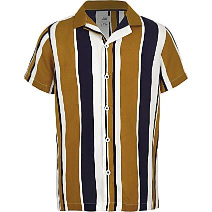 Boys yellow stripe short sleeve revere shirt