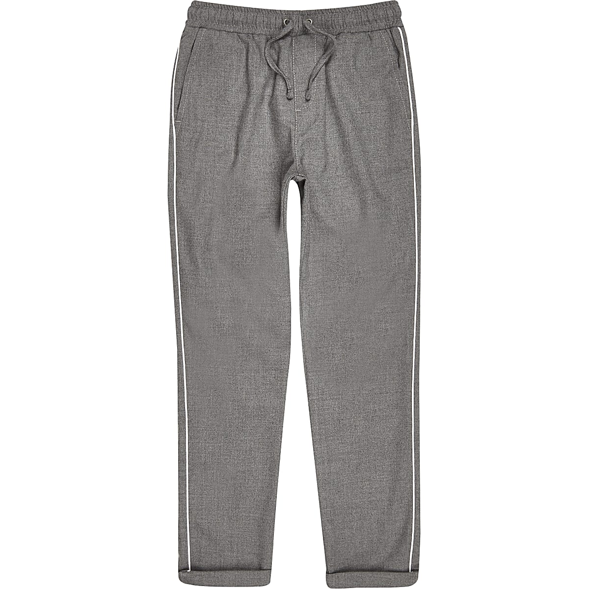 Boys grey piped trousers
