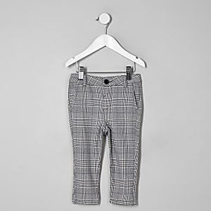 Mini boys grey check skinny trousers