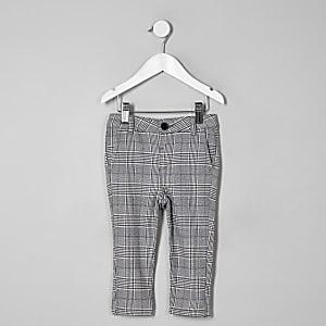 Mini boys grey check skinny pants