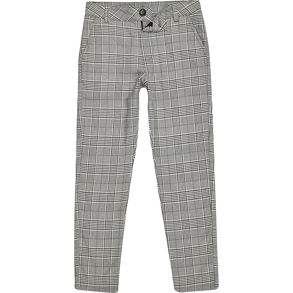 Boys grey check skinny trousers