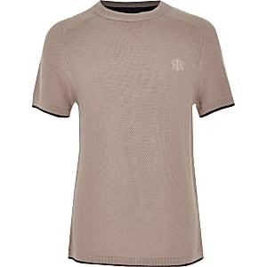 Gebreid roze T-shirt voor jongens