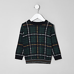 Mini boys green check sweater